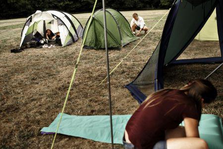 Ungecampen sætter op på Hindsgavl Festival 2018. Foto Mathias Løvgreen